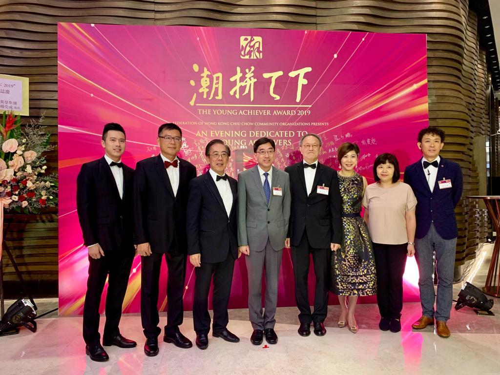 左三起:本會副會長蔡少偉、榮譽顧問高永文、會長林宣亮、會董林月萍、張敬慧、張少鵬