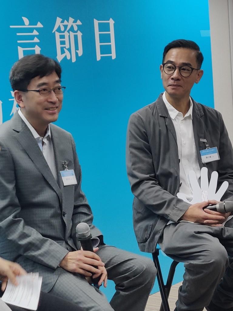 本會榮譽顧問高永文(左)與藝人陳小春各自分享他們如何學習潮州話和客家話s
