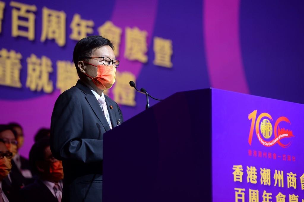 馬介璋監事長表示,香港潮州商會成立一個世紀,是團結、奮鬥、拼搏的歷史。s